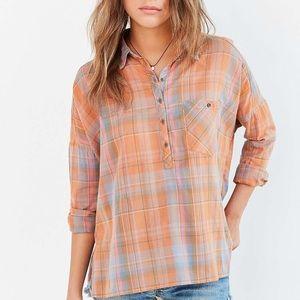 🍍5/$25 BDG Orange Plaid Pullover Shirt Size S